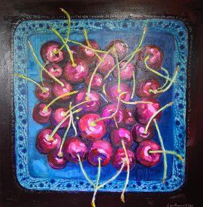 Painting of cherries in bowl