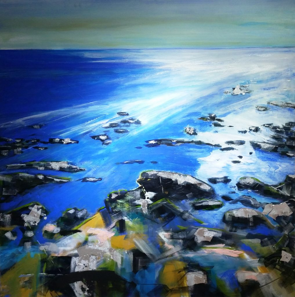 Painting of rocks in sea