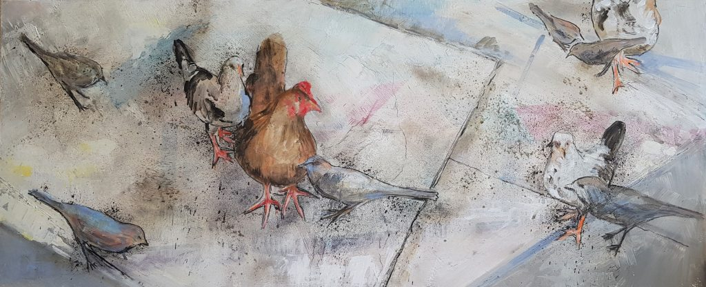 Painting of chickens