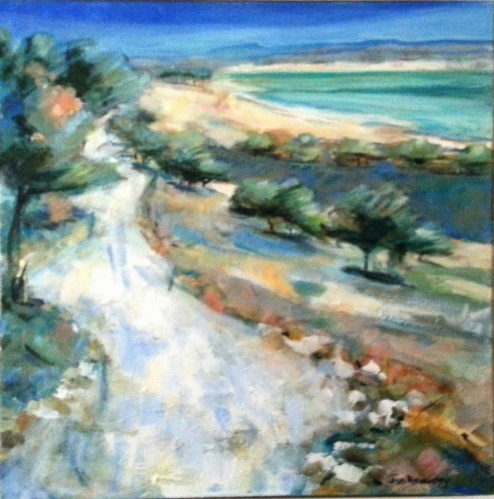 Painting of coastal road Spain