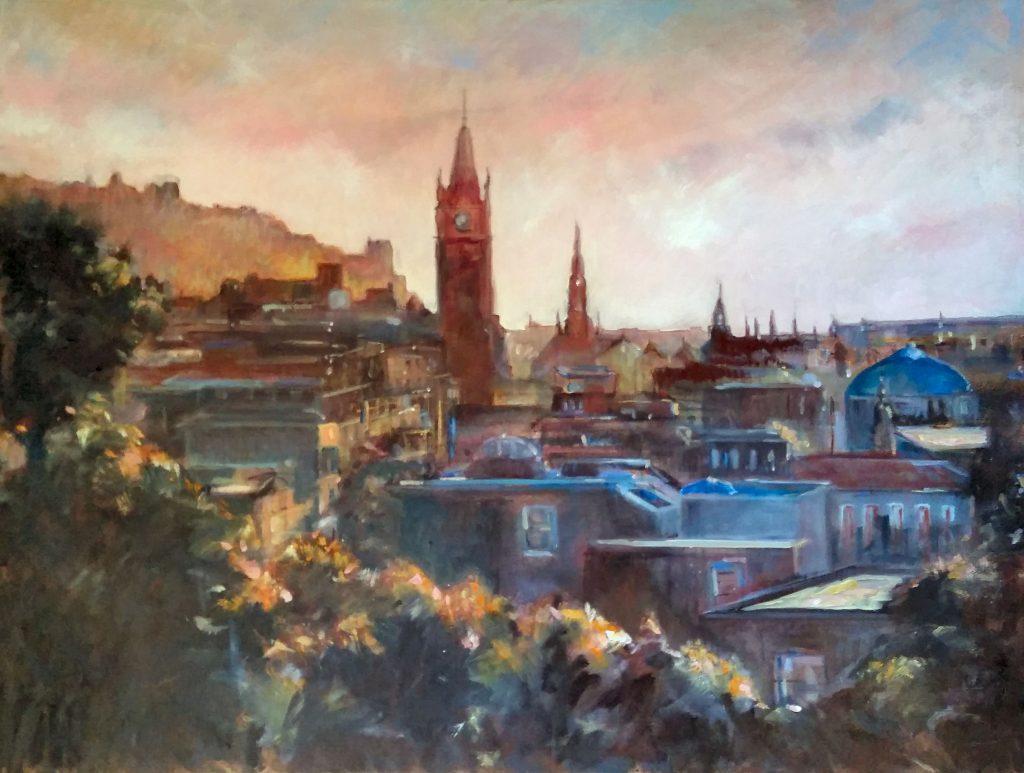 Painting of Edinburgh clock tower
