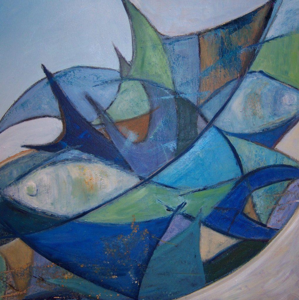 Painting of fish abstract