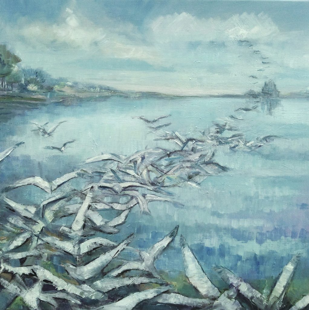 Painting of seagulls over water