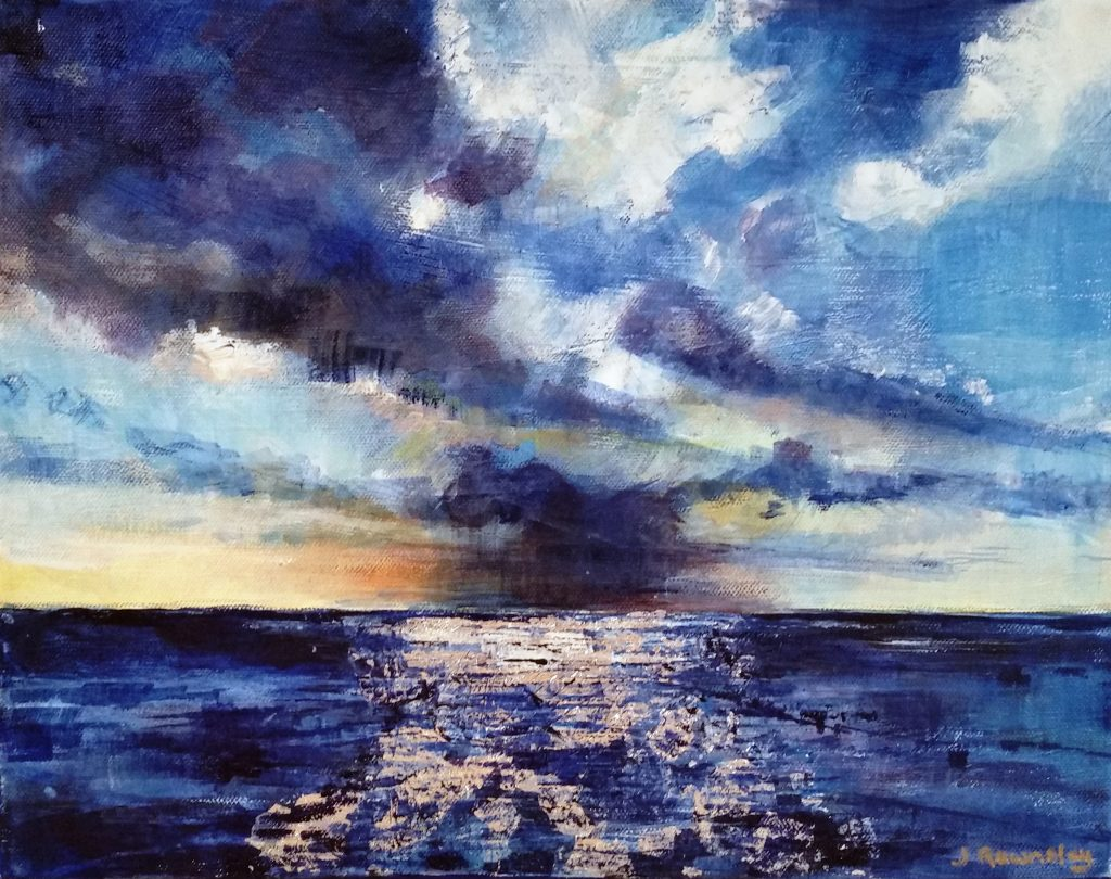 Painting of gathering storm over sea