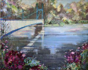 Painting of Jephson Gardens Bridge Royal Leamington Spa