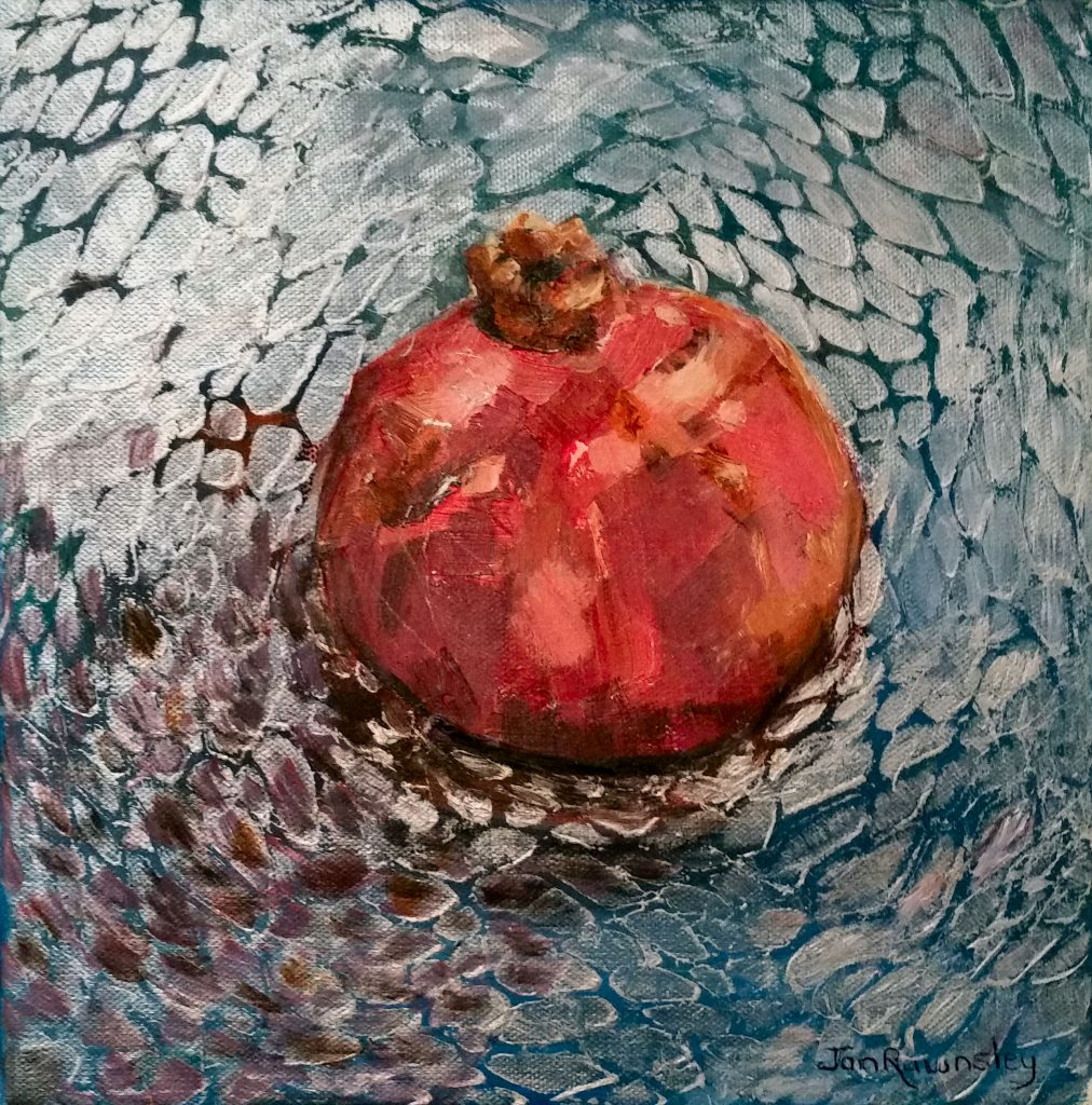 Painting of a Pomegranate in a bowl