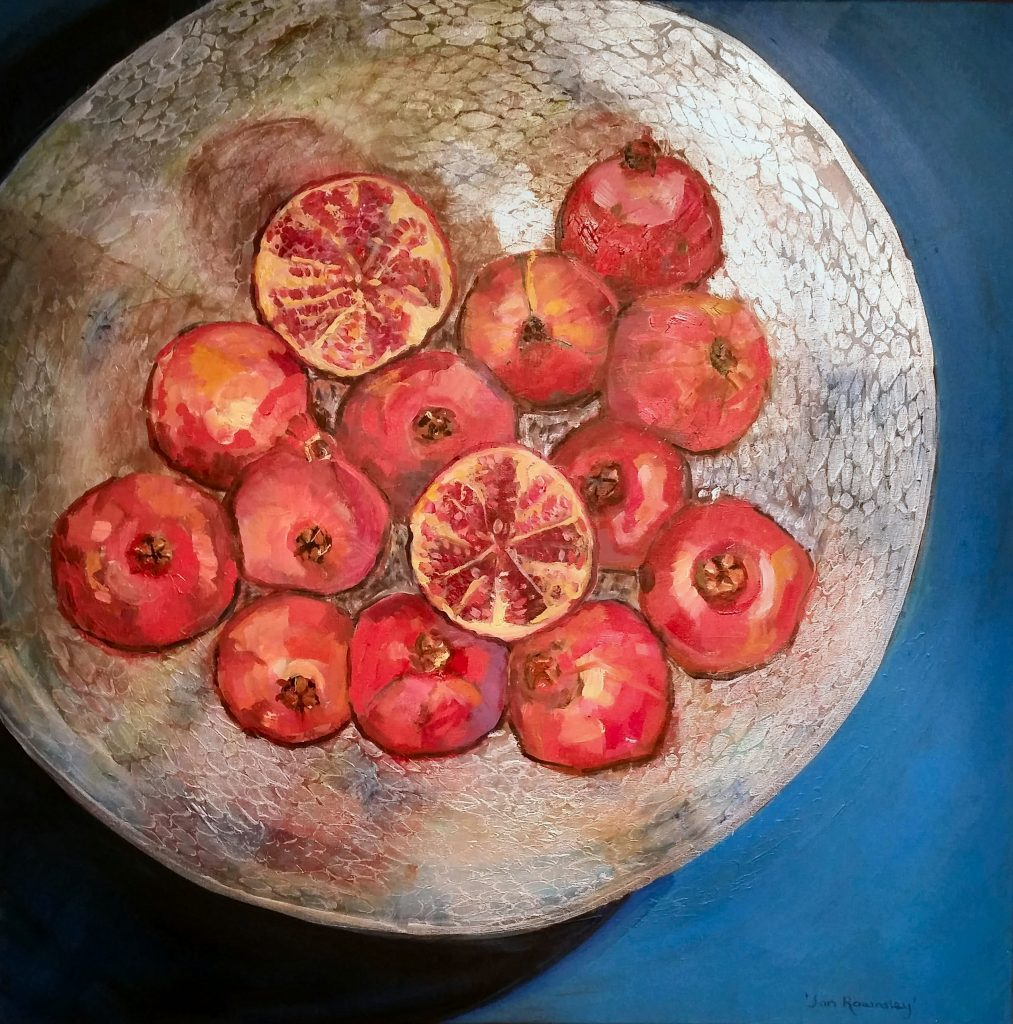 Painting of Pomegranates in a bowl
