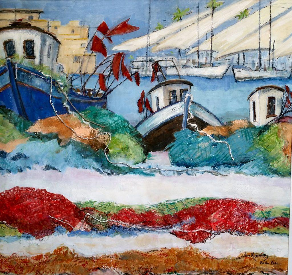 Painting of Santa Pola Fishing Quay Spain
