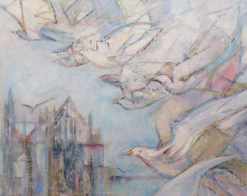 Painting of Seagulls over Whitby Abbey