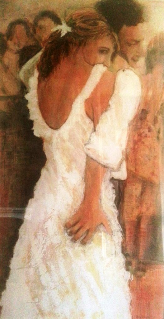 "painting of wedding day ""The Squeeze\"""