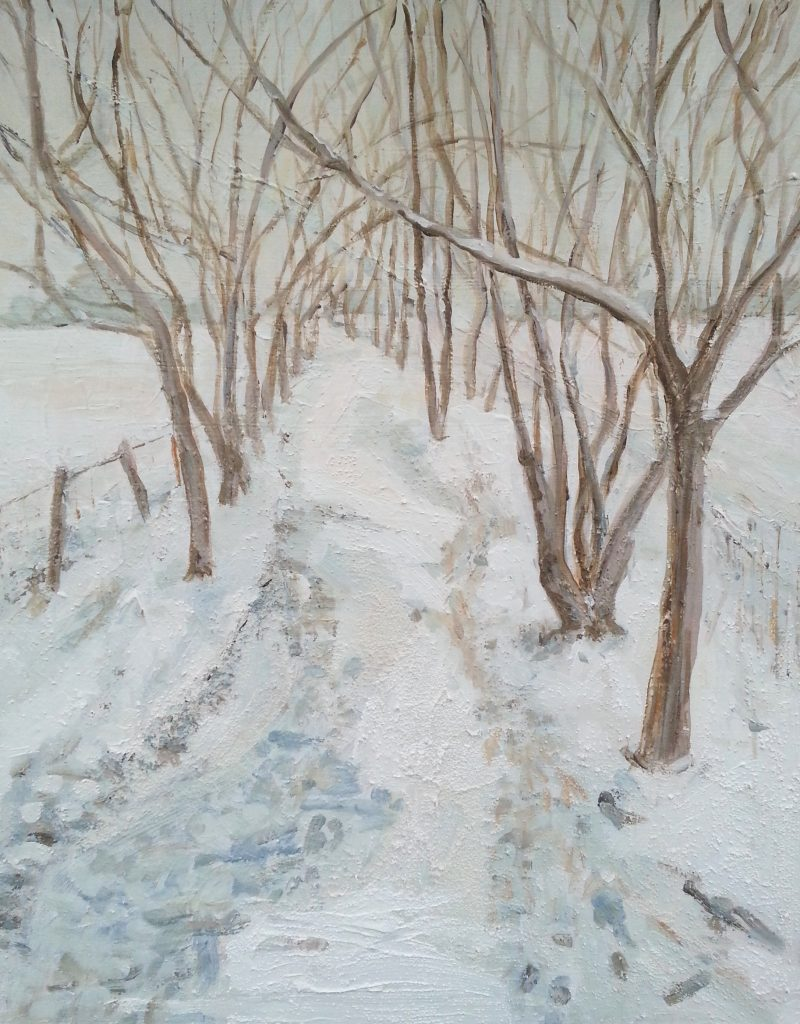 Painting of winter path